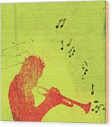Silhouette Of Trumpet Player Wood Print