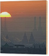 Silhouettes Of Chimneys And Spires Wood Print