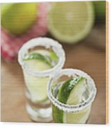Silver Tequila, Limes And Salt Wood Print