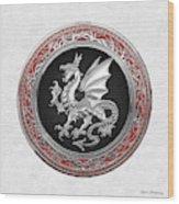 Silver Winged Norse Dragon - Icelandic Viking Landvaettir On Black And Silver Medallion Over White L Wood Print