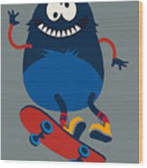 Skater Monster Victor Design For Kids Wood Print