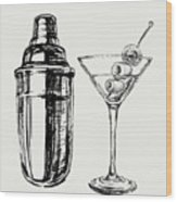 Sketch Martini Cocktails With Olives Wood Print