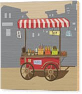Sketch Of Street Food Carts, Cartoon Wood Print