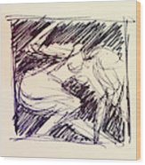 Sketch Of Woman Wood Print