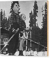 Ski Kids Wood Print