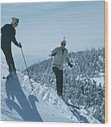 Skiers At Sugarbush Wood Print