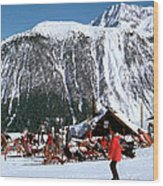 Skiing At Courcheval Wood Print