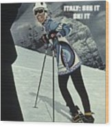 Skiing In Italy Sports Illustrated Cover Wood Print