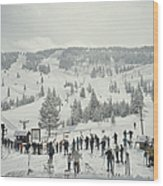 Skiing In Vail Wood Print