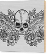 Skull And Wings Wood Print
