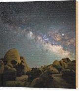 Skull Rock And Milky Way Wood Print