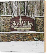 Sky Valley Georgia Welcome Sign In The Snow Wood Print