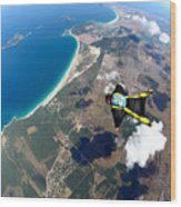 Skydive Wing Suit Over Brazilian Beach Wood Print