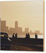 Skyline In La Habana, Cuba, At Sunset Wood Print