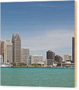 Skyline Of Detroit By Day Wood Print