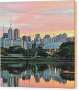 Skyline With Reflections On Lake At Wood Print