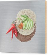 Sliced Avocado And Peppers With Grains Wood Print