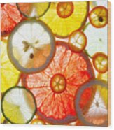Sliced Citrus Fruits Background Wood Print