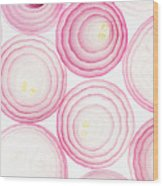 Sliced Pink Onion. Slices. Pattern Wood Print
