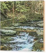 Small Waterfall In Creek And Stone Stairs Wood Print