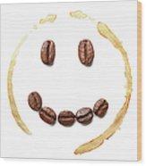 Smile Coffee Beans Wood Print