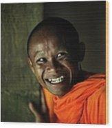 Smiling Buddhist Monk At Angkor Wat Wood Print