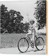 Smiling Girl Wearing A Jumper Short Set Wood Print