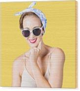 Smiling Pin-up Girl Wood Print