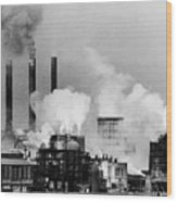 Smoke Rising From Factory Smokestacks Wood Print