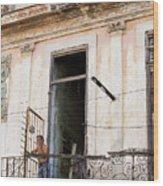 Smoker On Balcony In Cuba Wood Print