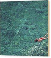 Snorkeling In The Mediterranean Sea Wood Print