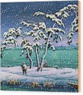 Snow At Hi Marsh, Mito - Digital Remastered Edition Wood Print