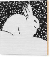 Snow Bunny Rabbit Holiday Winter Wood Print