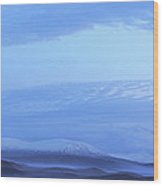 Snow Covered Hills And Mist At Dawn Wood Print
