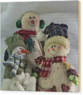 Snow Folk Wood Print