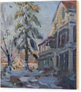 Snow In Town Wood Print