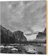 Snow In Yosemite Valley II Wood Print