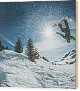 Snowboarder Doing A Backflip With Snow Wood Print