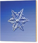 Snowflake On Blue Background Wood Print
