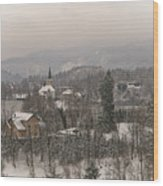Snowy Bled In Slovenia Wood Print