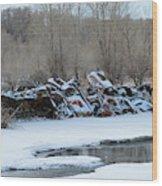 Snowy Graveyard Wood Print