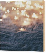 Snowy Winter Background With Fairy Lights. Wood Print