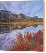 Sofa Mountain Reflecteion, Waterton Wood Print