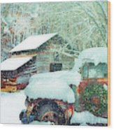 Softly Snowing On The Country Farm Wood Print