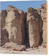 Solomon's Pillars In The Timna Valley In Southern Israel. Wood Print