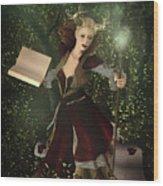 Sorceress And Magic Wood Print