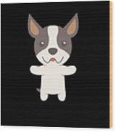 Sorry I Cant I Have Plans With My Boston Terrier Funny Dog Design Wood Print