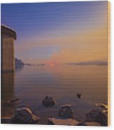 South Holston By Moon And Firelight Wood Print