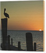 South Padre Island, Texas Sunset With Wood Print