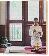 Spa Therapist Prepares Massage Room Wood Print